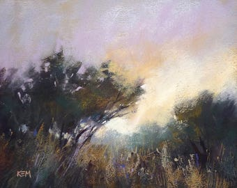Dramatic Contemporary  Landscape with Violet Sky Original Pastel Painting 9x12
