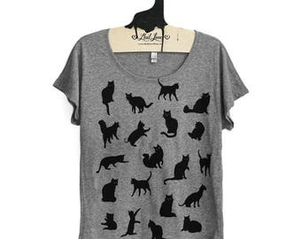 Large -  Heather Gray Dolman Tee with Cat Pattern Screen Print