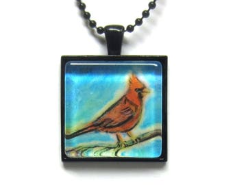 Red Cardinal painting Art Glass Tile Pendant Necklace