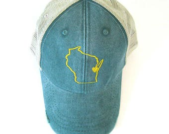 Distressed Snapback Trucker Hat - Yellow On Green Wisconsin Hat - Heart over Green Bay