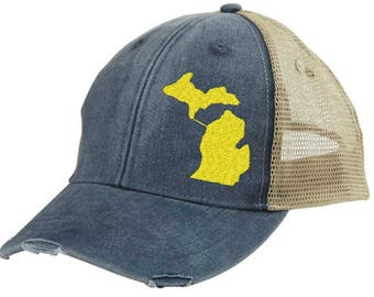 Distressed Snapback Trucker Hat -  Michigan off-center state pride hat - Many Colors available
