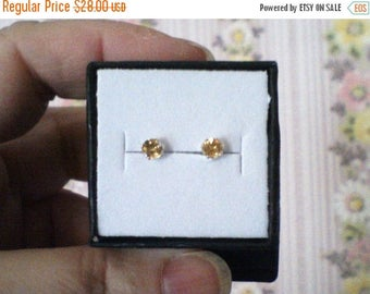 ON SALE 4mm Citrine Earrings, Natural Citrine Studs, A grade Brazilian Citrine Studs, .46ct Natural Citrine Studs