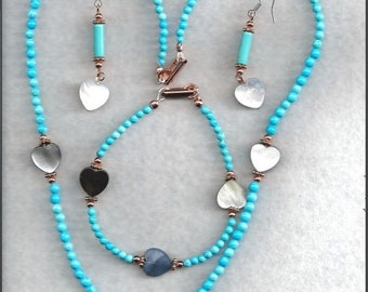 ON SALE Heart Shell & Turquoise Jewelry Set