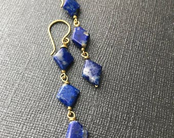 Blue Lapis Wire Wrapped Earrings