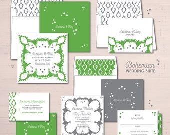 Bohemian Wedding Invitations Suite Package