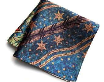 Fisher Building Mosaic Pocket Square. Detroit Architectural Detail. Architect gift, gift for Detroiter.