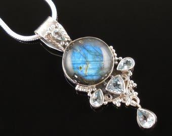 Labradorite & blue opal sterling silver pendant/necklace