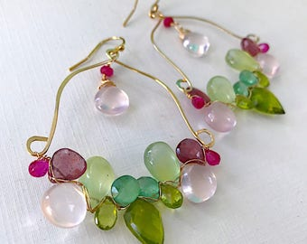 Prehnite, Peridot, Rose Quartz, Ruby Kyanite Woven Chandelier Earrings