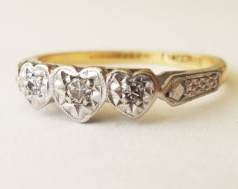 Art Deco Trilogy Diamond Heart Ring, 18 Carat Gold Platinum and Diamond Engagement Ring Approx. Size US 6