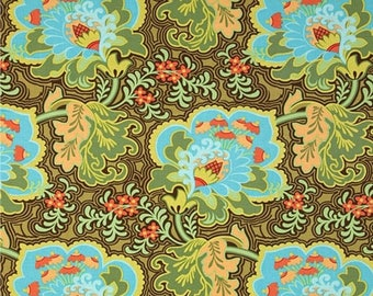 ON SALE - 10% Off Amy Butler Belle Collection Gothic Rose Blue Quilting Fabric BTY