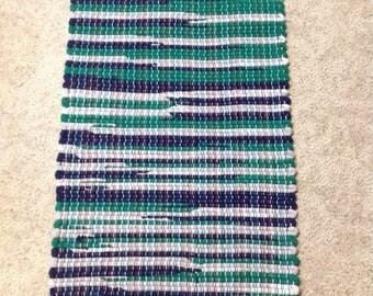 Rag Rug sweatshirt fleece upcycle 33 inches long by 18 inches wide OOAK handcrafted
