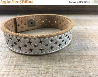 40% OFF- Custom Leather Cuff-Create Your Own-Tooled Silver Leather-Word Cuff