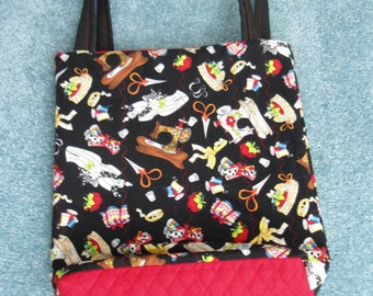 "Market Size Tote,Handcrafted/Quilted/,Vintage Seamstress Themed Fabric,16""Wx17-1/2""LB"