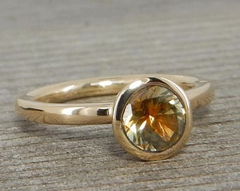 Montana Sapphire Ring - Ethically Sourced Bi-color  Orange/Green/Grey Sapphire and Recycled 14k Yellow Gold Ring, Stackable, - size 4.5