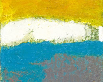 Low Clouds Abstract Painting Mixed Media Original Small Art Yellow White Blue Grey