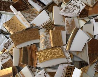 100 Mosaic Tiles Mix Broken Plate Art Hand Cut Mix Assortment Vintage Antique 22k Gold Lace Mix Limoges Designs Mix