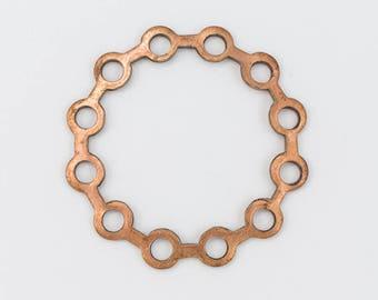 35mm Vintage Copper Linked Circle Filigree (2 Pcs) #FIA114