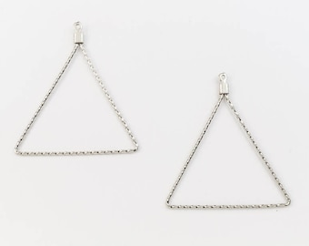 35mm Silver Triangle Ear Hoop #EFA015