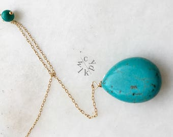 Turquoise Lariat Necklace, Gold Lariat Necklace,  Gemstone Lariat Necklace, Matte Gold Necklace