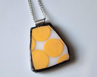 Broken China Jewelry Pendant - Yellow Dot Pyrex