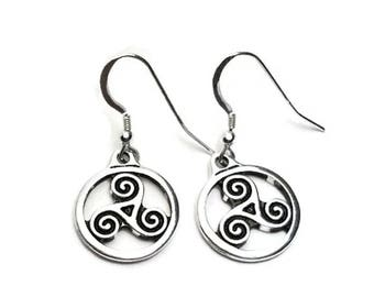 Celtic Triskele Spirals Dangle Earrings Fine Silver Plated Pewter with Sterling Silver Earwires
