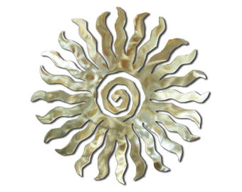 Sun Burst Southwest Metal Wall Art - 24 Point - Silver Swirl Finish