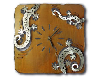 Gecko Lizard Southwest Cutout Wall Clock - Brown Rust Finish