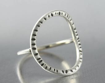 ON SALE TODAY Patterned Circle Ring, Geometric Oval Design, Sterling Silver Jewelry