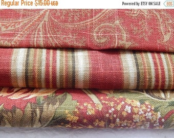 CLEARANCE - 3 pieces red multi woven fabrics, 10 x 10 inches