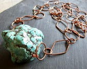 RARE grand Turquoise cuivre ABACUS - Wilma Flintstone Necklace - déclaration - Etsy bijoux - catROCKS - Rough Cut - Grace Frankie - Big - ooak