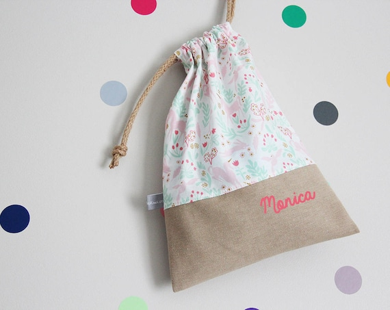 Customizable drawstring pouch - kindergarden - unicorns - rabbits - pink - green - birds - school - personalised - cuddly toy - toys
