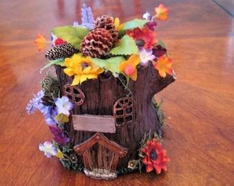 Rustic, Elfin, fairy,  tree stump, floral, wedding, shower, anniversary, event CeNteRpIecE.....last one....personalized, sunflowers