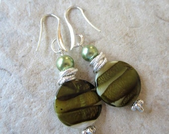 CIJ SALE Green Striped  Mother of Pearl Earrings  Silver or Gold