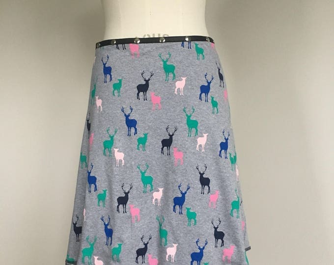 Deer Skirt, Cotton Skirt, one size skirt, Snap Skirt, gray Skirt, Erin MacLeod, womens skirt, adjustable skirt, fun skirt, animal skirt