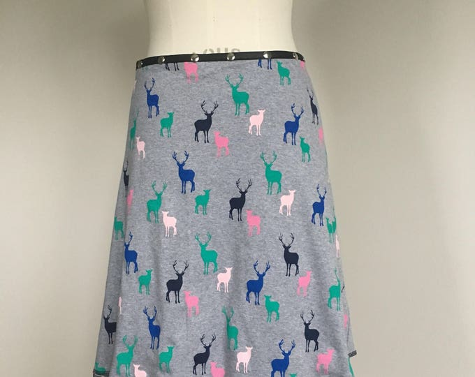 Deer Skirt, Cotton Skirt, one size skirt, Snap Skirt, gray Skirt, Erin MacLeod, womens skirt, adjustable skirt, fun skirt, animal skirt