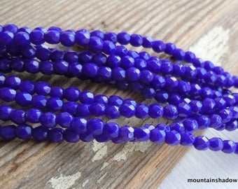 Czech 2mm Beads -  Faceted Round Czech Glass Beads Opaque Blue  - 50 pcs (G - 62)