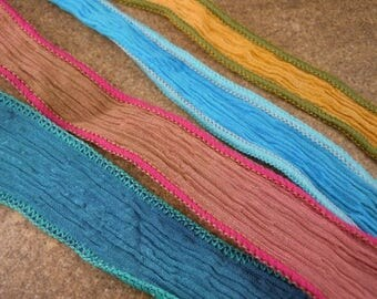 25% OFF Sale Four Hand Dyed Crinkle Silk Ribbons Assorted Colors