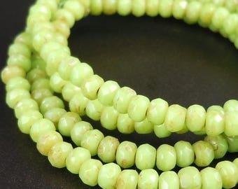 20% Summer SALE Czech Glass Beads 2x3mm Lime Green Picasso 50 pcs (G - 161)