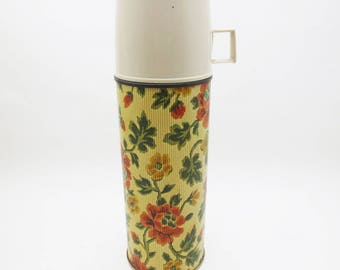 Vintage Metal Thermos Floral Flower Print Pint Sized King Seeley Vacuum Bottle