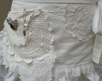Aprons - Bridal  Aprons - Handmade White Aprons - Bridsmaids Aprons - Here Comes the Bride Apron - White Lace Apron - Annies Attic Aprons