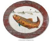 Small Oval-Shaped Original Brown Trout Collage