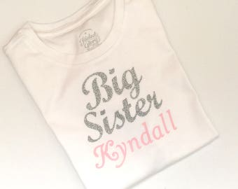 Big sister personalized shirt ( your childs name) silver and pink... big sister--- baby shower