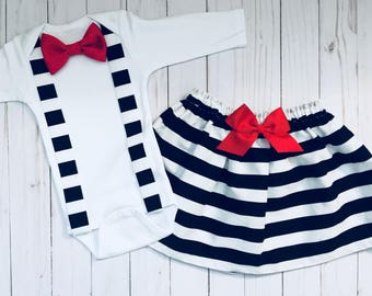 SIBLING SET.. girls skirt-- boys suspender bow tie onesie or tshirt black and white stripes and red satin removable bow tie.