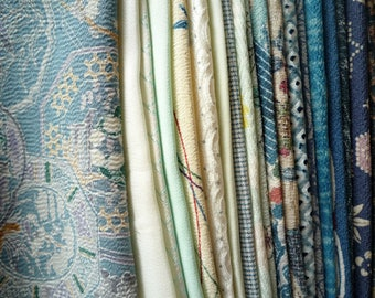 Blue Mixed Kimono Fabric, Most Silk Japanese Textile Scraps, Asian Textile Remnants, Craft Supply, Handmade Supplies