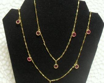 Vintage 1960s Open Back Bezel Set Pink Crystal Drops Necklace