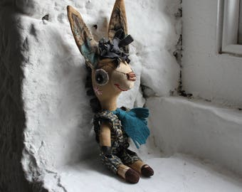 Donkey, Cloth Art Doll, Primitive, Folk Art Doll, Gift For Him, Gift For Doll Collector, Shelf Display, Childrens Bedroom