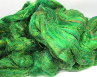 Recycled Carded Sari Silk Fibres - Emerald 50g