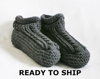 Gray Mens Slippers Low Cuff Charcoal Dark Gray Bedsocks, Handknitted, Size 11 - 12