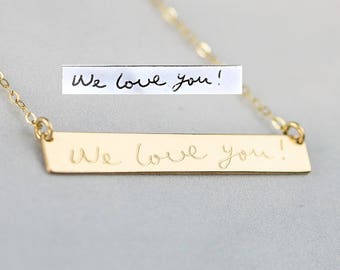 Actual Handwritten Bar Necklace, Personalized Signature Jewelry, Child Handwriting Necklace, Engraved Memorial Name Jewelry
