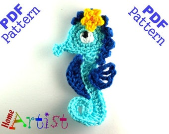 Seahorse + Plants crochet Applique Pattern